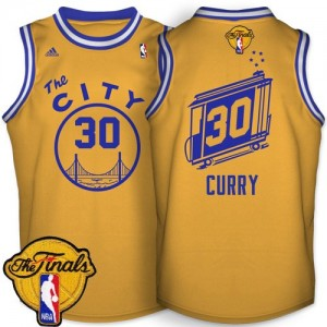 Maillot NBA Or Stephen Curry #30 Golden State Warriors Throwback The City 2015 The Finals Patch Authentic Homme Adidas