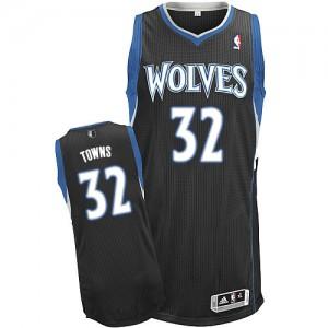 Minnesota Timberwolves #32 Adidas Alternate Noir Authentic Maillot d'équipe de NBA Remise - Karl-Anthony Towns pour Homme