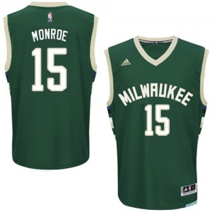 Maillot Adidas Vert Road Swingman Milwaukee Bucks - Greg Monroe #15 - Homme