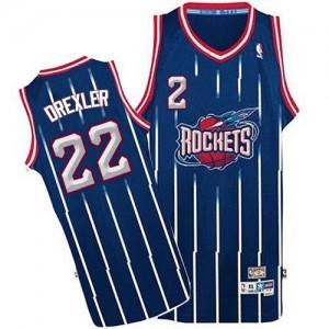 Houston Rockets Clyde Drexler #22 Throwback Authentic Maillot d'équipe de NBA - Bleu marin pour Homme