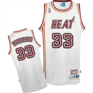 Maillot Authentic Miami Heat NBA Throwback Blanc - #33 Alonzo Mourning - Homme