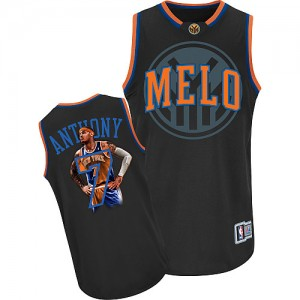 Maillot Adidas Noir Notorious Authentic New York Knicks - Carmelo Anthony #7 - Homme