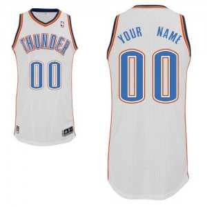 Maillot NBA Blanc Authentic Personnalisé Oklahoma City Thunder Home Homme Adidas