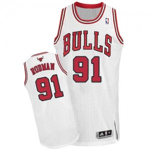 Maillot NBA Authentic Dennis Rodman #91 Chicago Bulls Home Blanc - Homme