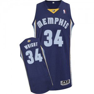 Maillot NBA Authentic Brandan Wright #34 Memphis Grizzlies Road Bleu marin - Homme