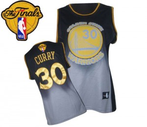 Golden State Warriors #30 Adidas Fadeaway Fashion 2015 The Finals Patch Gris noir Authentic Maillot d'équipe de NBA Vente - Stephen Curry pour Femme