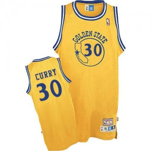 Maillot Authentic Golden State Warriors NBA New Throwback Or - #30 Stephen Curry - Homme