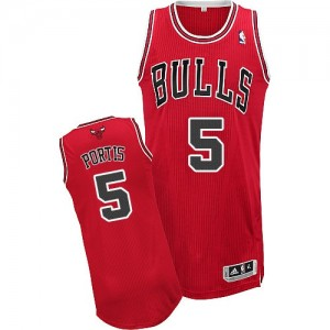 Maillot NBA Authentic Bobby Portis #5 Chicago Bulls Road Rouge - Homme