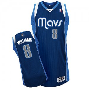 Maillot NBA Dallas Mavericks #8 Deron Williams Bleu marin Adidas Authentic Alternate - Homme