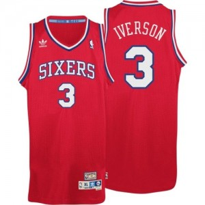 Maillot NBA Philadelphia 76ers #3 Allen Iverson Rouge Adidas Swingman Throwack - Homme