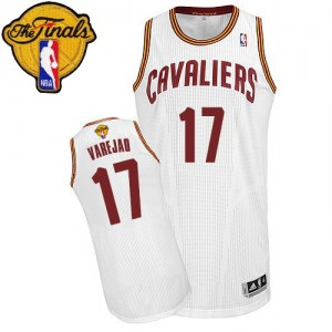 Maillot NBA Cleveland Cavaliers #17 Anderson Varejao Blanc Adidas Authentic Home 2015 The Finals Patch - Homme