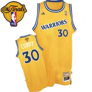 Maillot NBA Authentic Stephen Curry #30 Golden State Warriors Throwback 2015 The Finals Patch Or - Homme