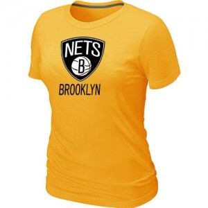 Brooklyn Nets Big & Tall Tee-Shirt d'équipe de NBA - Jaune pour Femme