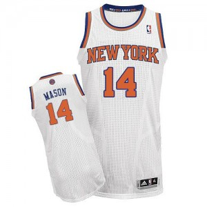 Maillot NBA New York Knicks #14 Anthony Mason Blanc Adidas Authentic Home - Homme