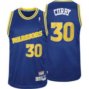 Golden State Warriors #30 Adidas Throwback Bleu Authentic Maillot d'équipe de NBA en soldes - Stephen Curry pour Homme