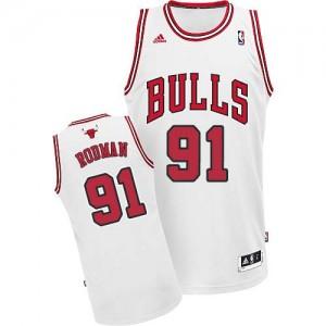 Maillot NBA Blanc Dennis Rodman #91 Chicago Bulls Home Swingman Homme Adidas