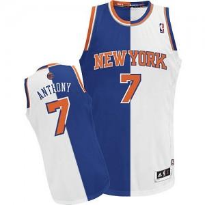 Maillot Adidas Bleu Blanc Split Fashion Authentic New York Knicks - Carmelo Anthony #7 - Homme
