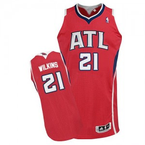 Maillot NBA Atlanta Hawks #21 Dominique Wilkins Rouge Adidas Authentic Alternate - Homme