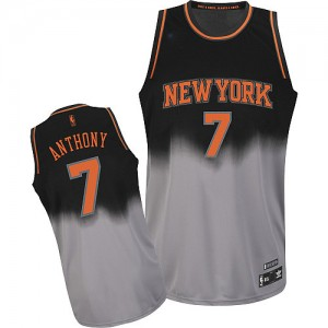 Maillot Adidas Gris noir Fadeaway Fashion Authentic New York Knicks - Carmelo Anthony #7 - Homme