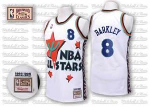 Phoenix Suns Charles Barkley #8 Throwback 1995 All Star Authentic Maillot d'équipe de NBA - Blanc pour Homme