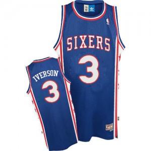Maillot NBA Philadelphia 76ers #3 Allen Iverson Bleu Adidas Authentic Throwack - Homme