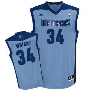 Memphis Grizzlies Brandan Wright #34 Alternate Swingman Maillot d'équipe de NBA - Bleu clair pour Homme