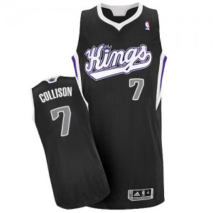Maillot NBA Sacramento Kings #7 Darren Collison Noir Adidas Authentic Alternate - Homme