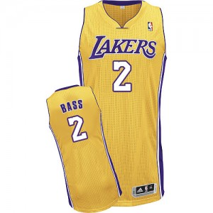Los Angeles Lakers #2 Adidas Home Or Authentic Maillot d'équipe de NBA magasin d'usine - Brandon Bass pour Homme