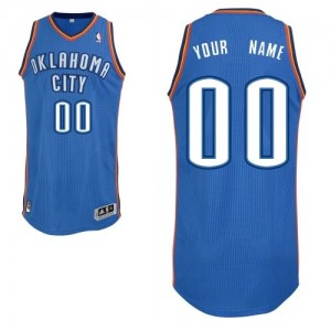 Maillot NBA Bleu royal Authentic Personnalisé Oklahoma City Thunder Road Homme Adidas