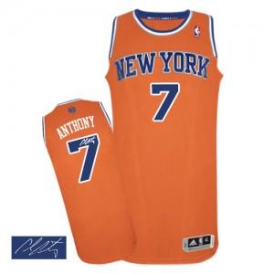 New York Knicks Carmelo Anthony #7 Alternate Autographed Authentic Maillot d'équipe de NBA - Orange pour Homme
