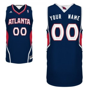 Maillot Adidas Bleu marin Road Atlanta Hawks - Swingman Personnalisé - Enfants