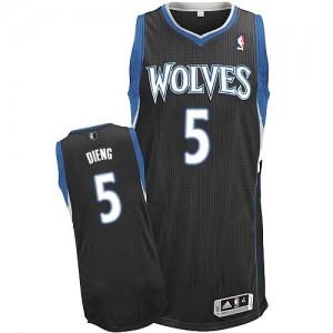 Maillot NBA Minnesota Timberwolves #5 Gorgui Dieng Noir Adidas Authentic Alternate - Homme