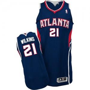 Maillot NBA Atlanta Hawks #21 Dominique Wilkins Bleu marin Adidas Authentic Road - Homme