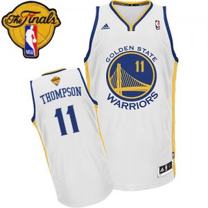 Maillot NBA Blanc Klay Thompson #11 Golden State Warriors Home 2015 The Finals Patch Swingman Homme Adidas