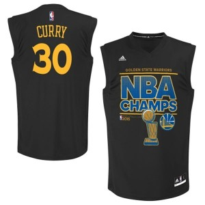 Maillot Adidas Noir 2015 NBA Finals Champions Authentic Golden State Warriors - Stephen Curry #30 - Homme