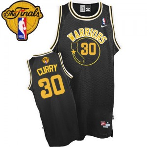 Maillot NBA Golden State Warriors #30 Stephen Curry Noir Nike Authentic Throwback 2015 The Finals Patch - Homme
