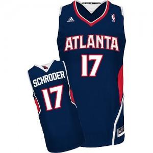 Atlanta Hawks Dennis Schroder #17 Road Swingman Maillot d'équipe de NBA - Bleu marin pour Homme