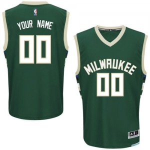 Maillot NBA Milwaukee Bucks Personnalisé Authentic Vert Adidas Road - Homme