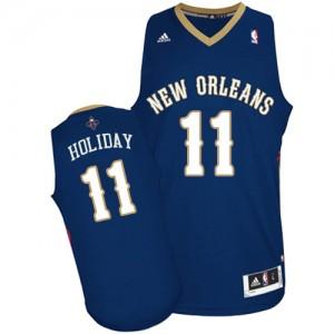 New Orleans Pelicans Jrue Holiday #11 Road Swingman Maillot d'équipe de NBA - Bleu marin pour Homme