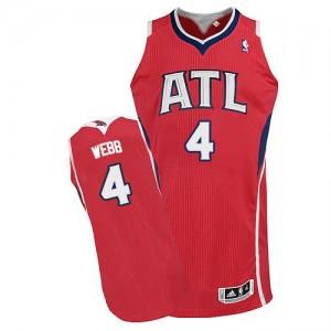 Maillot NBA Rouge Spud Webb #4 Atlanta Hawks Alternate Authentic Homme Adidas