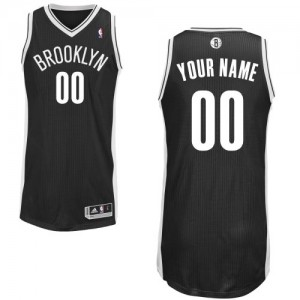 Maillot Adidas Noir Road Brooklyn Nets - Authentic Personnalisé - Homme