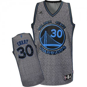Maillot Adidas Gris Static Fashion Swingman Golden State Warriors - Stephen Curry #30 - Femme