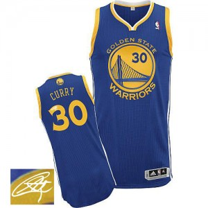 Maillot Adidas Bleu royal Road Autographed Authentic Golden State Warriors - Stephen Curry #30 - Homme