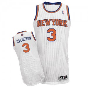 Maillot Authentic New York Knicks NBA Home Blanc - #3 Jose Calderon - Homme
