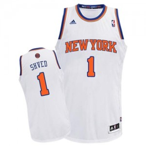 Maillot NBA New York Knicks #1 Alexey Shved Blanc Adidas Swingman Home - Homme