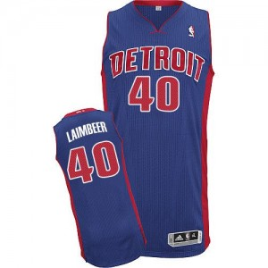 Maillot NBA Detroit Pistons #40 Bill Laimbeer Bleu royal Adidas Authentic Road - Homme