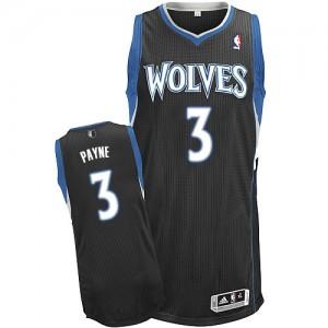 Maillot NBA Minnesota Timberwolves #3 Adreian Payne Noir Adidas Authentic Alternate - Homme