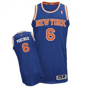 Maillot NBA New York Knicks #6 Kristaps Porzingis Bleu royal Adidas Authentic Road - Homme