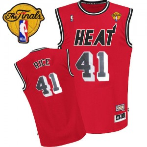 Maillot NBA Miami Heat #41 Glen Rice Rouge Adidas Authentic Throwback Finals Patch - Homme