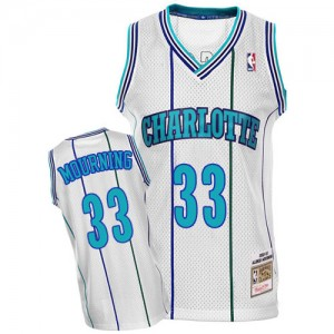 Maillot NBA Blanc Alonzo Mourning #33 Charlotte Hornets Throwback Authentic Homme Mitchell and Ness